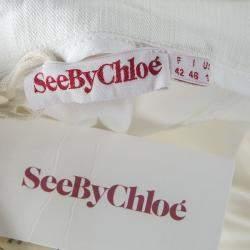 See By Chloe White Denim Sleeveless Pinafore Dress L