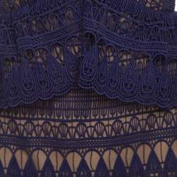 Self Portrait Purple Teardrop Guipure Paneled Lace Maxi Dress M