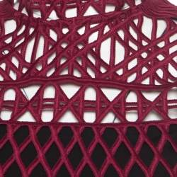 Self Portrait Burgundy Cutout Lace Sleeveless Crop Top S