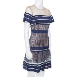Self Portrait Navy Blue Striped Mesh Peplum Dress S