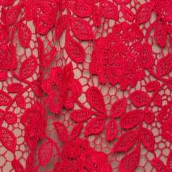 Self-Portrait Crimson Red Guipure Lace Midi Dress S