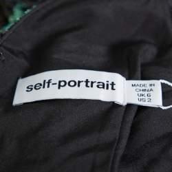 Self Portrait Black Leaf Sequin Wrap Top S