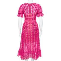 Self Portrait Fuchsia Pink Guipure Lace Ruffle Detail Midi Dress S