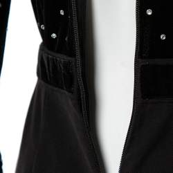 Self-Portrait Black Velvet & Crepe Stone Embellished Paneled Jumpsuit S