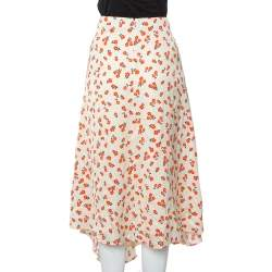 Self-Portrait Cream Floral Printed Satin Asymmetric Skirt M