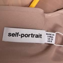 Self Portrait Nude Pink Chiffon Pleated  Lace Trim Detail Maxi Dress M