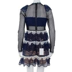 Self Portrait Navy Blue Wave Guipure Lace Ruffled Mini Dress M