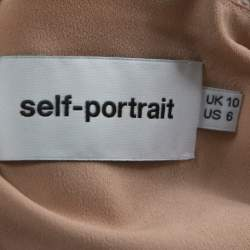 Self Portrait Pink-Beige & Yellow Floral Guipuire Lace Peter-Pan Collar Midi Dress M