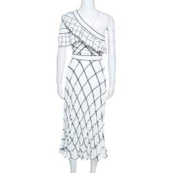 Self Portrait White Checked Crepe One Shoulder Pleated Dress XS