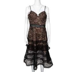 Self Portrait Black Paisley Lace Sleeveless Bustier Dress L