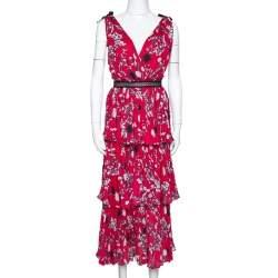 Self-Portrait Hibiscus Red Floral Print Crepe Pleated Midi Dress L