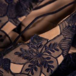 Self-Portrait Navy Blue Sheer Lace Paneled Amaryllis Column Dress M