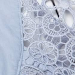Self Portrait Light Blue Guipure Lace Draped Asymmetric Top M