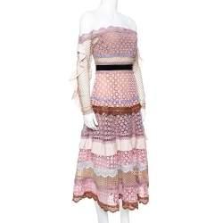 Self Portrait Pale Pink Guipure Lace Bellis Off Shoulder Dress S