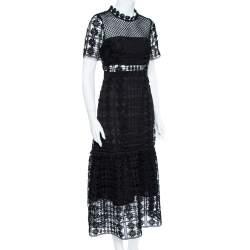 Self-Portrait Black Floral Lattice Lace Midi Dress M