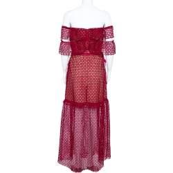 Self- Potrait Crimson Red Guipure Lace Off-Shoulder Maxi Dress M