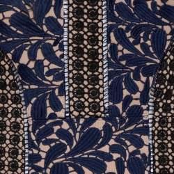 Self Portrait Navy Blue Lace Cut-Out Detail Midi Dress M