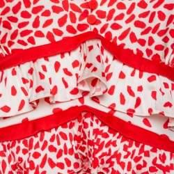 Self Portrait Cream & Red Dot Printed Satin Ruffle Detail Midi Dress L