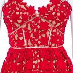 Self Portrait Red Floral Guipure Lace Noodle Strap Azaelea Midi Dress S