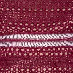 Self Portrait Burgundy Guipure Lace Strapless Drop Waist Midi Dress S