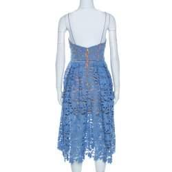 Self Portrait Blue Floral Guipure Lace Azaelea Dress M