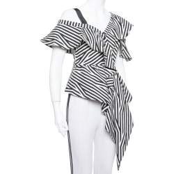 Self Portrait Monochrome Striped Stretch Cotton Asymmetric Top S