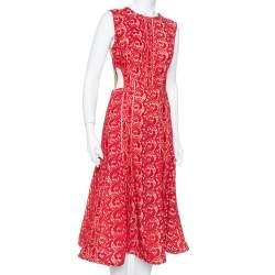 Self Portrait Crimson Red Guipure Lace Cut Out Detail Paneled Midi Dress M