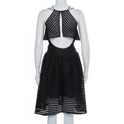 Self Portrait Black Mesh Cropped Overlay Dress S