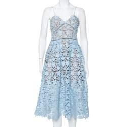 Self Portrait Sky Blue Guipure Lace Azalea Dress M