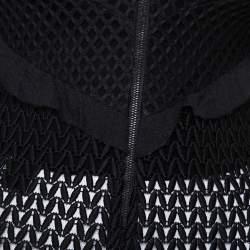Self Portrait Black Lace Ruffle Detail Cold Shoulder Top M