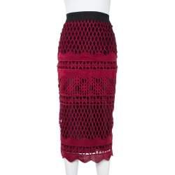 Self Portrait Burgundy Cut Out Lace Midi Skirt XS
