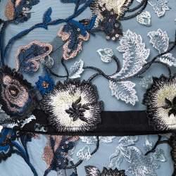 Self Portrait Blue Floral Embroidered Layered Florentine Maxi Dress M