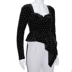 Self-Portrait Black Velvet Crystal Embellished Asymmetrical Top S
