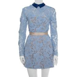 Self-Portrait Blue Guipure Lace Collared Peony Dress S