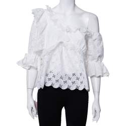 Self-Portrait White Leaf Broderie One Shoulder Anglaise Top M