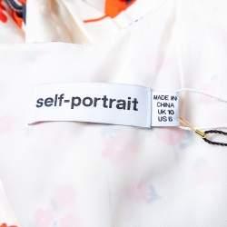 Self Portrait Cream Floral Printed Silk Satin Midi Dress M