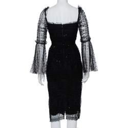 Self-Portrait Black Polka Dot Tulle Sequin Embellished Ruched Midi Dress S