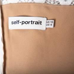 Self Portrait Monochrome Lace & Pleated Crepe High Neck Maxi Dress M
