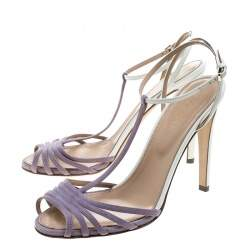 Sergio Rossi Purple/White Suede and Leather T-Strap Sandals Size 38.5