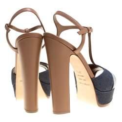 Sergio Rossi Brown/Blue Denim and Leather Platform Sandals Size 39.5