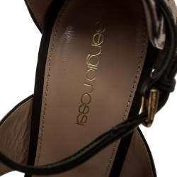 Sergio Rossi Tricolor Pony Hair And Leather Donyale Ankle Strap Sandals Size 39.5
