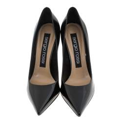 Sergio Rossi Black Patent Leather Pointed Toe Pumps Size 37