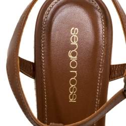 Sergio Rossi Brown Leather Wedge Espadrille Ankle Strap Sandals Size 39