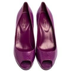 Sergio Rossi Purple Python Peep Toe Platform Pumps Size 38