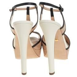 Sergio Rossi Beige And Black Leather T-Strap Platform Sandals Size 38