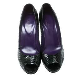 Sergio Rossi Black Python Leather Peep Toe Pumps Size 41