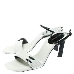 Sergio Rossi White Pony Hair Ankle Wrap Sandals Size 38.5