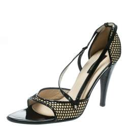 Sergio Rossi Black/Beige Leather And Mesh Strappy Sandals Size 40