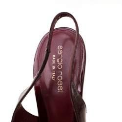 Sergio Rossi Burgundy Patent Leather Slingback Platform Pumps Size 39.5