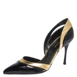 Sergio Rossi Black Patent And Gold Leather Pointed Toe D'orsay Pumps Size 38.5